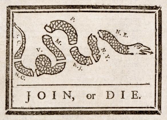 """Grabado del """"Join, or Die"""" creado por Benjamin Franklin"""